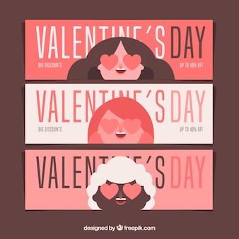 Filles amoureuses bannière de vente saint valentin