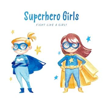 Filles d'aquarelle super-héros