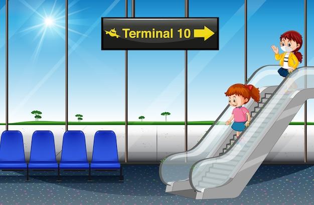 Filles arrivant à l'aéroport