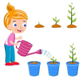Filles arrosent la plante en vecteur de pot de fleurs