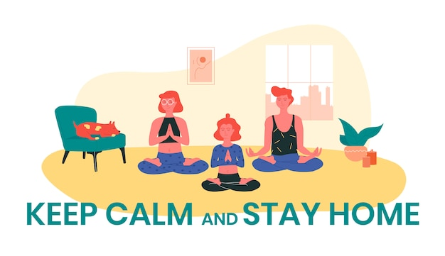 Filles aux cheveux roux faisant du yoga à la maison pendant que leur chien dort près d'eux. restez calme et restez à la maison illustration.