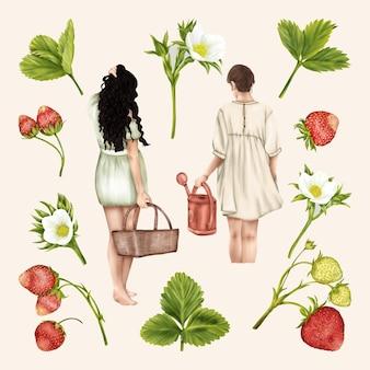 Filles boho d'été avec panier et entonnoir fraises fleurs feuilles