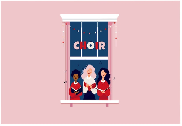 Filles chantant dans une petite chorale restez à la maison ou concept de verrouillage personnes dans le cadre de la fenêtre chantant des chants de noël illustration plate