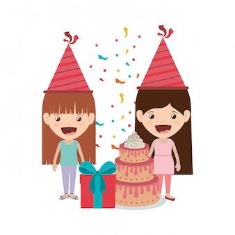 Filles avec chapeau de fête en fête d'anniversaire