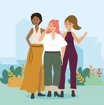 Les filles avec un chemisier et une jupe avec un pantalon et des vêtements d'une seule pièce