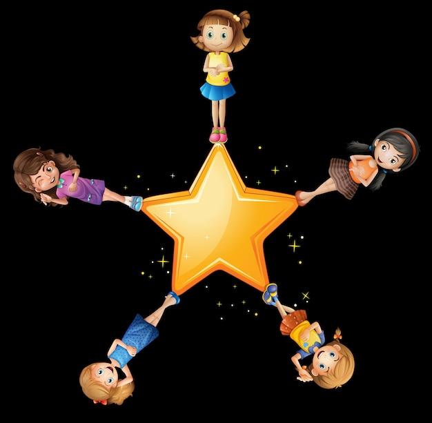 Filles debout sur l'étoile jaune