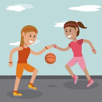 Filles de dessin animé jouant l'image de sport de basket-ball