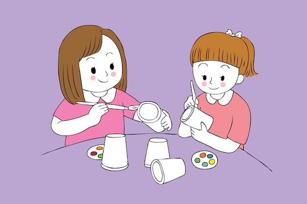 Filles de dessin animé mignon étudiant peinture vecteur de verre de papier.