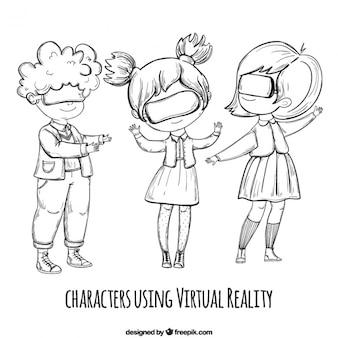 Filles dessinées à la main en utilisant des lunettes virtuelles
