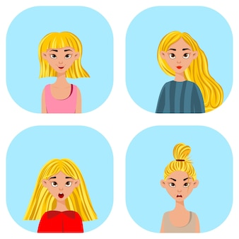 Filles avec différentes expressions faciales et émotions. style de bande dessinée. illustration vectorielle.