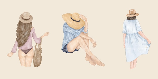 Filles de dos d'été avec sac à chapeau et robes d'été
