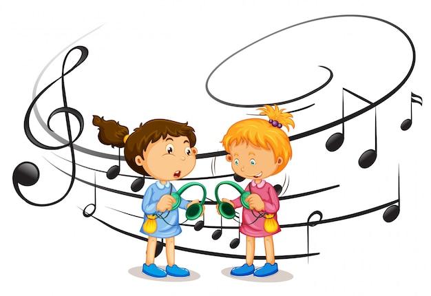 Filles écoutant de la musique