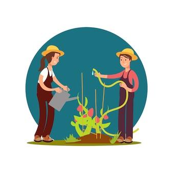 Filles de ferme de personnage de dessin animé arrosé illustration de fleurs