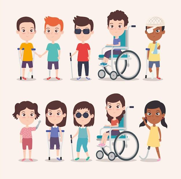Filles et garçons handicapés