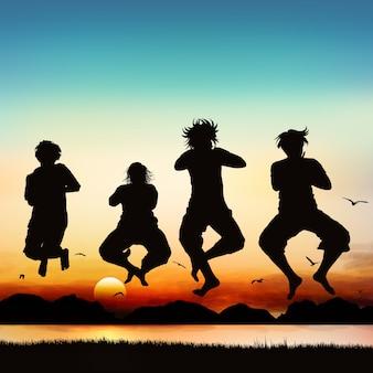 Les filles heureuses sautent, sur la silhouette.