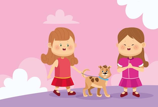 Filles heureux avec l'icône de chien mignon
