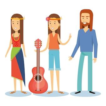Filles hippies et homme avec guitare sur fond blanc. illustration vectorielle