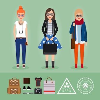 Filles de hipster avec accessoires