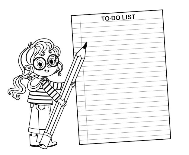 Filles intelligentes noir et blanc pour faire la liste vector illustration