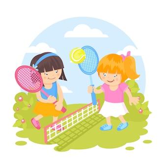 Filles jouant au tennis