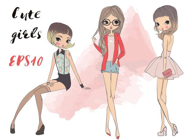 Filles mignonnes de dessin animé de mode dans le style sommaire