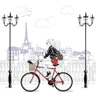 Filles de la mode dans un style croquis à paris. portrait de femme fashion.