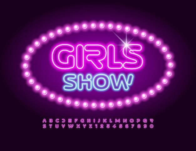 Les filles montrent des lettres et des chiffres de l'alphabet brillant à la mode, une police de néon futuriste