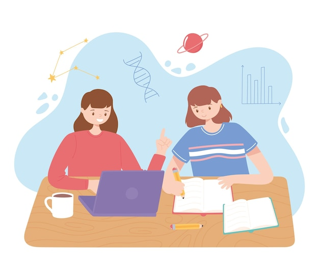 Filles avec ordinateur portable et manuels lisant et étudiant l & # 39; illustration de l & # 39; éducation