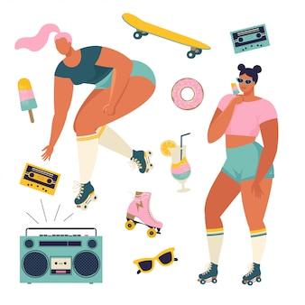 Filles de patinage à roulettes avec tourne-disque dansant sur l'illustration de la rue en vecteur. affiche de concept de puissance de fille avec citation de texte inspirant danse, bébé.