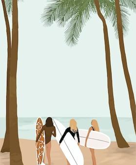 Filles avec une planche de surf sur fond de mer et de palmiers.