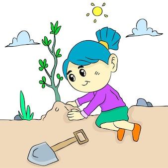 Les filles plantent. autocollant mignon illustration de dessin animé