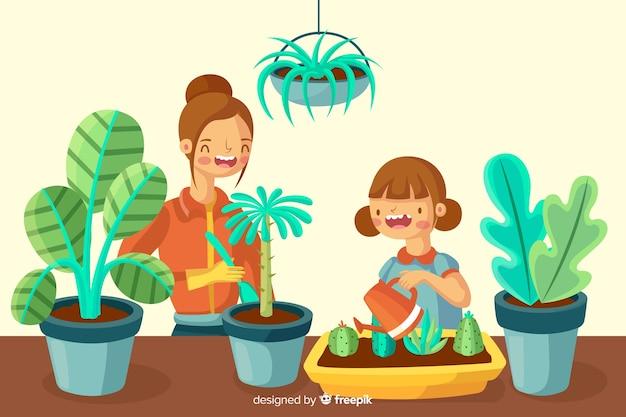 Filles prenant soin des plantes