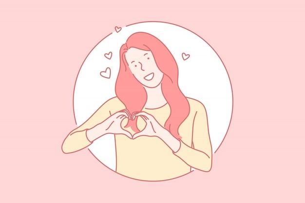 Filles, projection, coeur, à, mains, concept