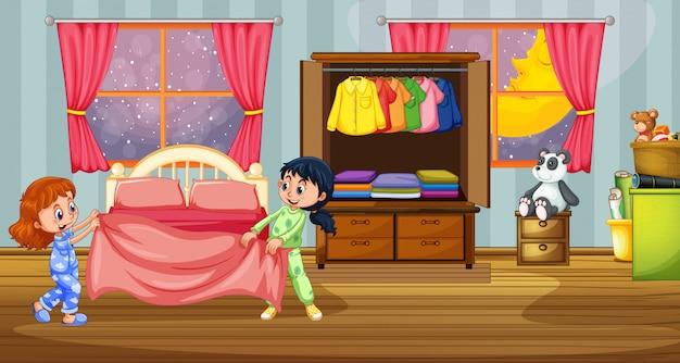 Filles en pyjama dans la chambre