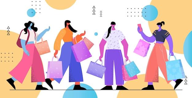 Les filles qui achètent des vêtements dans une boutique de mode transgenres aiment le concept de magasinage de la communauté lgbt illustration vectorielle horizontale pleine longueur