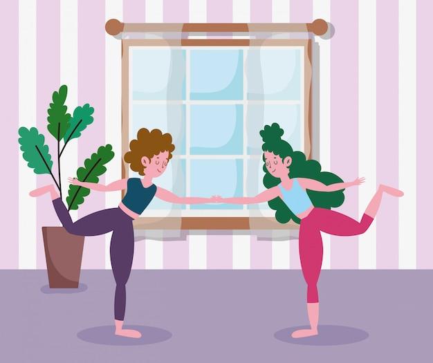 Filles, tenant mains, pratiquer, yoga, dans salle, exercices, chez soi