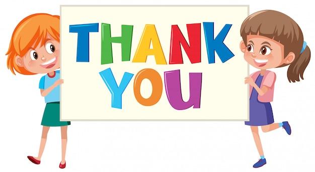 Filles tenant signe de remerciement