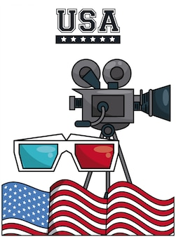 Film caméscope avec lunettes 3d et drapeau usa design graphique vector illustration