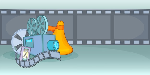Film de fond horizontal de film de cinéma, style cartoon