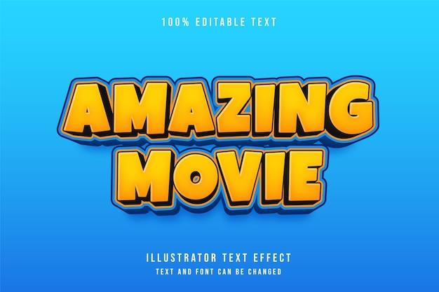 Film incroyable, effet de texte modifiable 3d dégradé jaune style bande dessinée orange bleu
