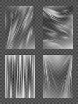 Film plastique, film étirable en cellophane transparent, texture réaliste froissée ou pliée pour boîte alimentaire.