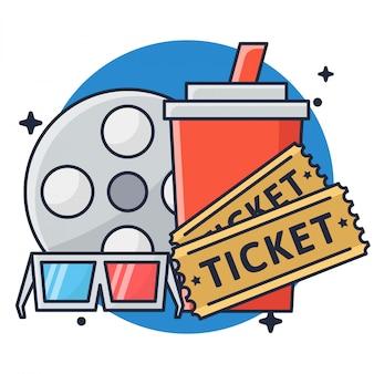Film ticket et boisson avec des lunettes