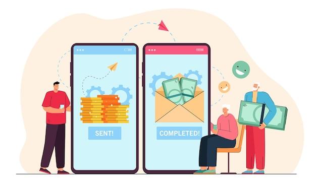 Fils adulte envoyant de l'argent à des parents âgés en ligne