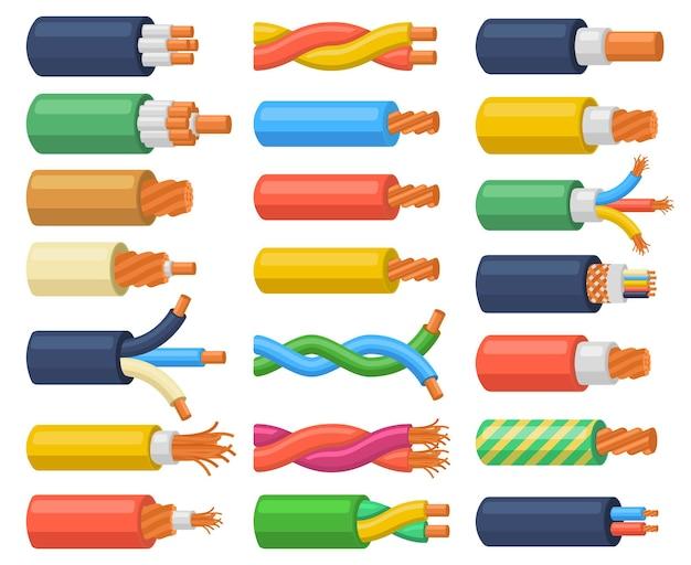 Fils de câbles électriques équipement électrique flexible. câble électrique à noyau de cuivre, ensemble d'illustrations vectorielles de fils électriques matériels multicœurs. fils de câbles électriques