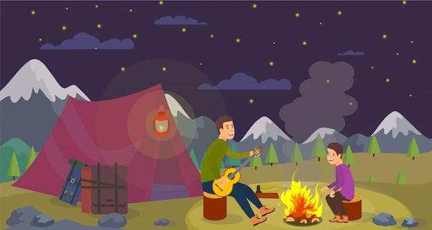 Fils et fils de vector plat vont la nuit de week-end en montagne