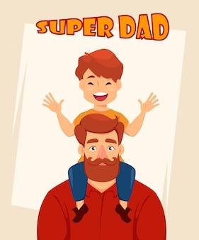 Fils gai est assis sur les épaules de son père
