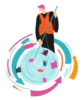 Filtre à eau pour sauver l'écologie de la pollution, l'homme nettoie les mers et les océans des ordures. eco volontaire ou travailleur d'une usine de recyclage traitant de la litière, du plastique et du papier. vecteur dans un style plat