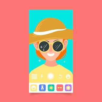 Filtre instagram avec lunettes de soleil et chapeau