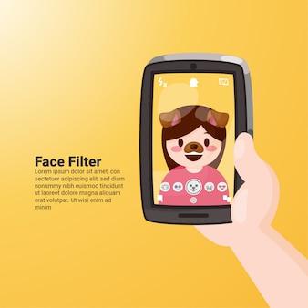 Filtre de visage de chien snapchat