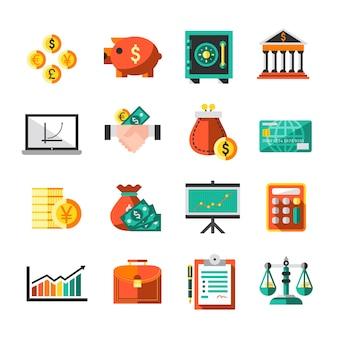 Finance, banque, affaires, monnaie, échange, icônes, ensemble, serviette, échelles, graphique, isolé, vecteur, illustration